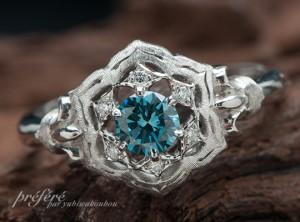 婚約指輪はお花モチーフで繊細なデザインでオーダーメイド