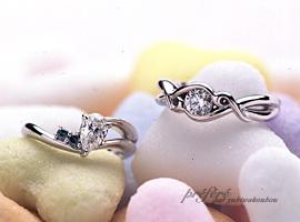 ペアシェイプとラウンドのダイヤを使ったオーダーメイドのエンゲージリング(婚約指輪)です。(指輪No.105)
