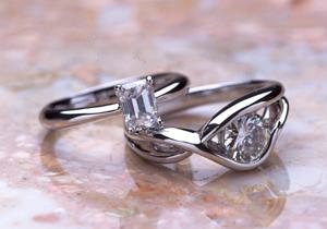 バケットダイヤとラウンドダイヤのオーダーメイドのエンゲージリング(婚約指輪)(指輪No.55)