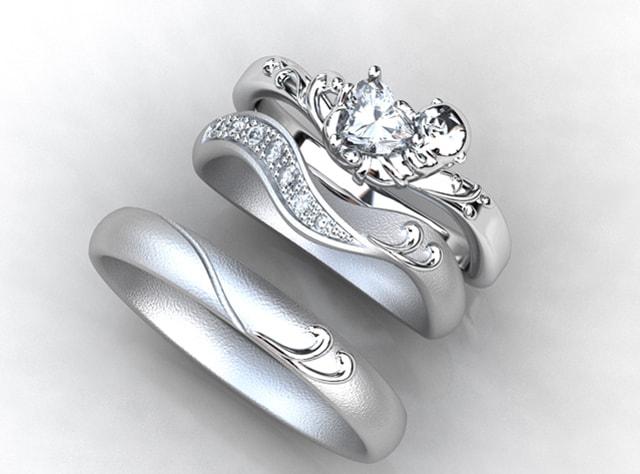 ラッコちゃんモチーフの婚約指輪とセットする結婚指輪(指輪No.7705)