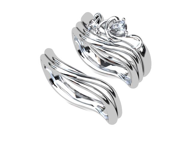 婚約指輪と結婚指輪を重ねて着けるセットリング(指輪No.7701)