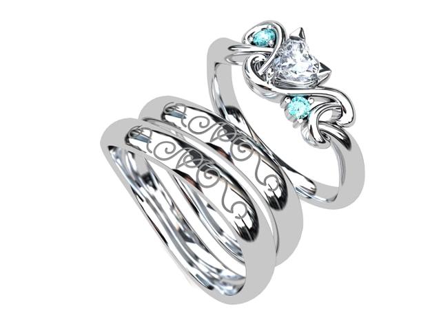 ネコモチーフの婚約指輪と結婚指輪を一緒に着けるセットリング(指輪No.7709)