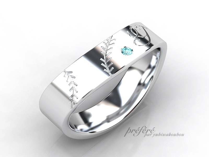 結婚指輪はオーダーで野球ボールのモチーフ
