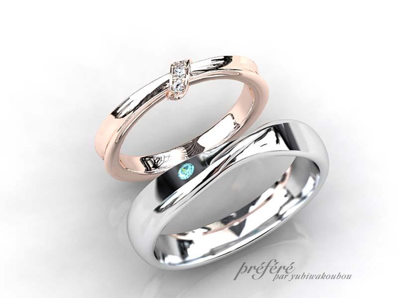 お二人を結ぶリボンをモチーフにした結婚指輪オーダーメイド