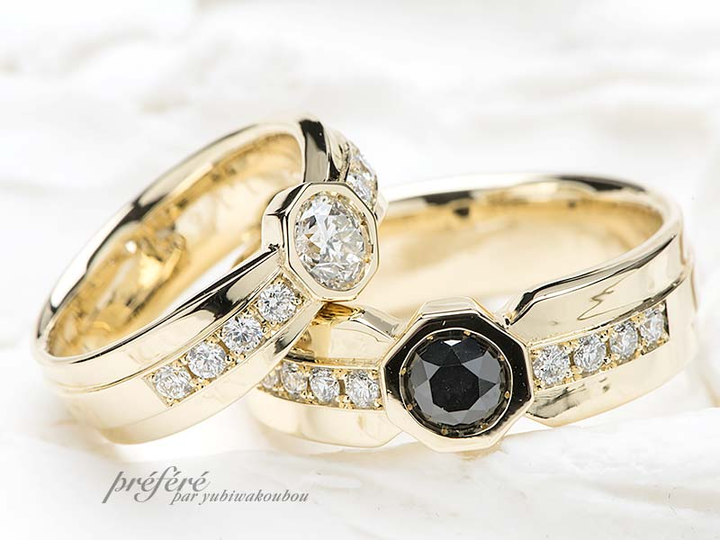 八角形の結婚指輪はゴールド素材でオーダー