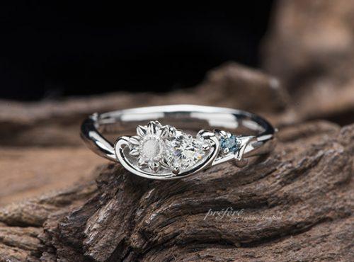 ハートダイヤとひまわりの婚約指輪