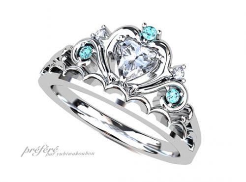 イルカのティアラ婚約指輪