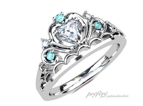 イルカを入れたティアラ形婚約指輪