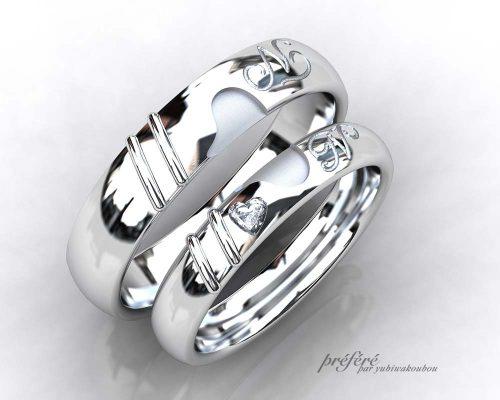 スライム結婚指輪にハートダイヤ