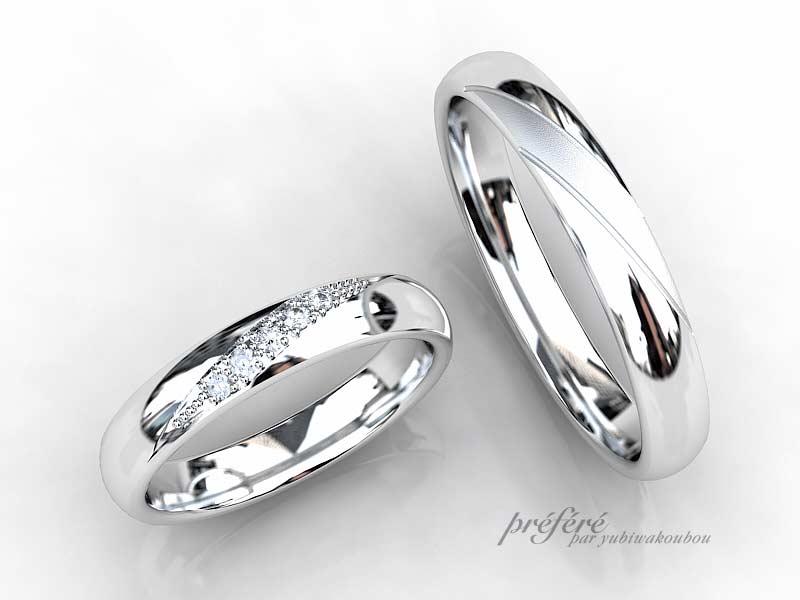結婚指輪と婚約指輪の重ね着けデザインが人気のセットリング