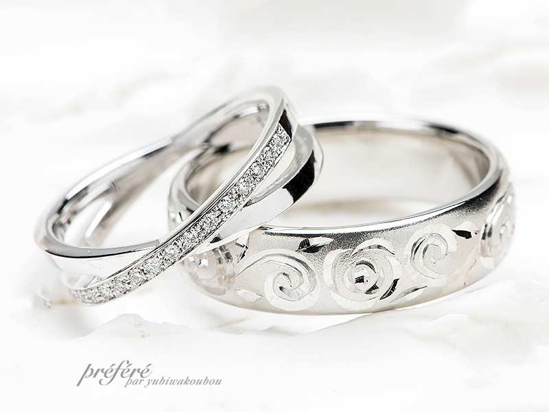 結婚指輪はクロスにダイヤと手彫りデザインでオーダーメイド