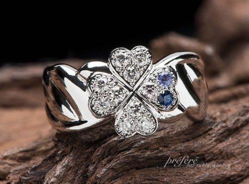 四つ葉のクローバーと天使の羽根の結婚記念の指輪