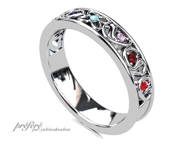 結婚10周年記念の指輪は家族のイニシャルに誕生石