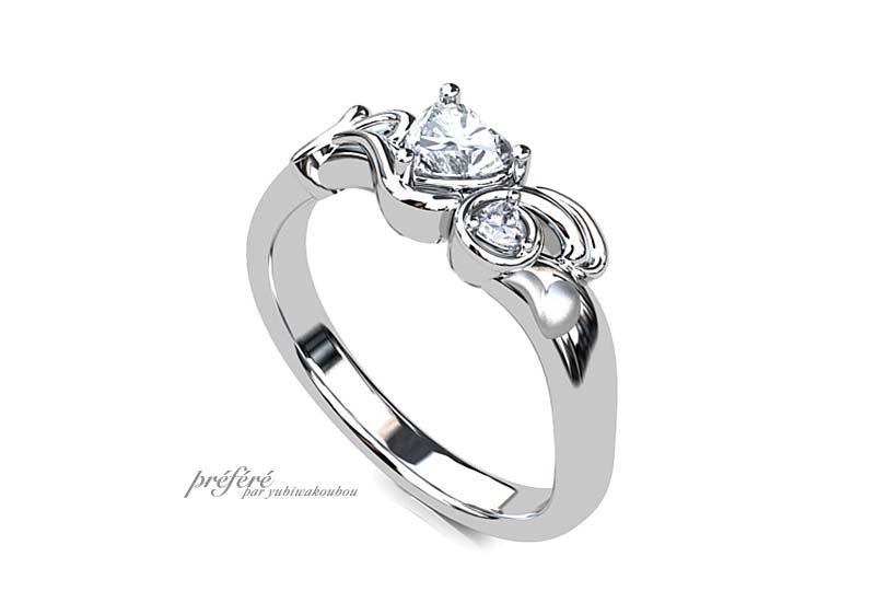 ウサギ 婚約指輪 ,ハートダイヤ 婚約指輪オーダー