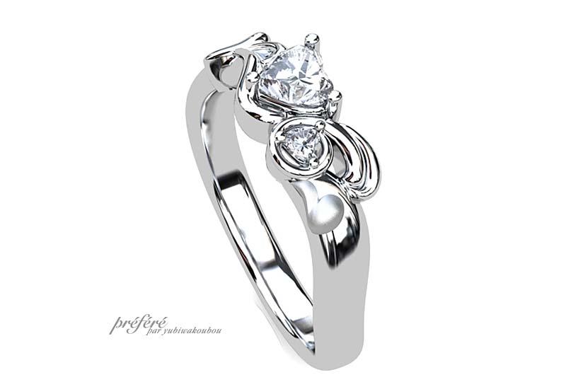 ウサギ ハートダイヤ 婚約指輪, ハートダイヤ 婚約指輪オーダー