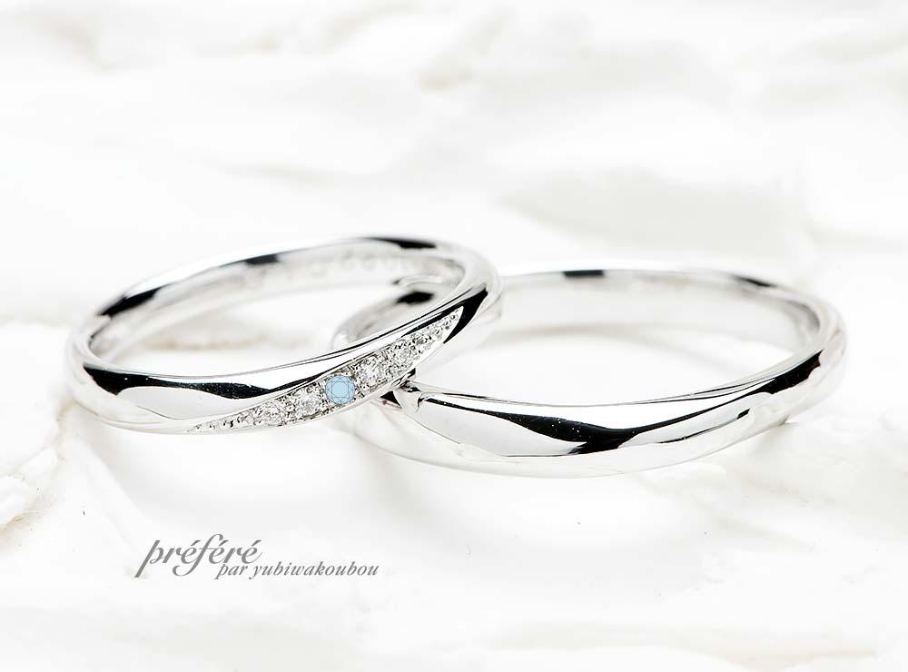 華奢でシンプルな結婚指輪