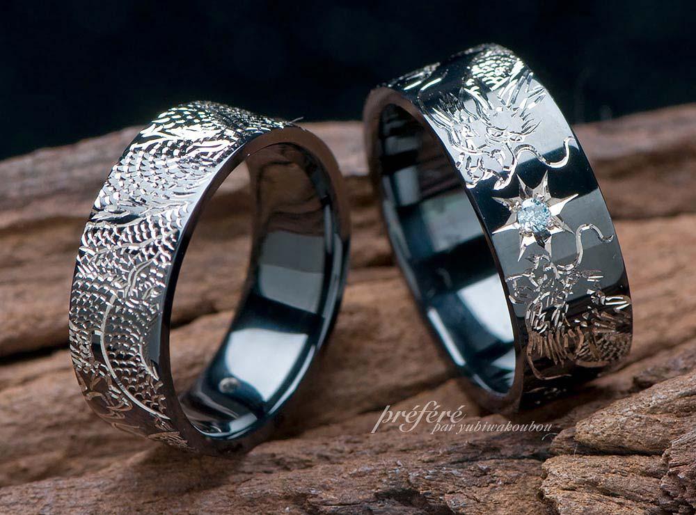 結婚指輪モチーフをブラックリングでオーダーメイド