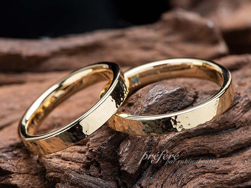 槌目模様の結婚指輪 オーダーメイド