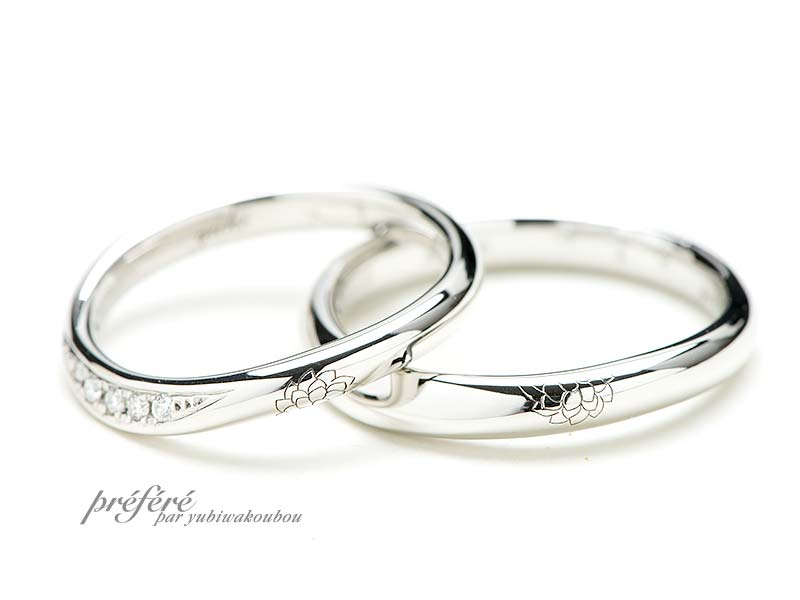 ダリアの花と雪の結晶を彫り込んだ結婚指輪はオーダー