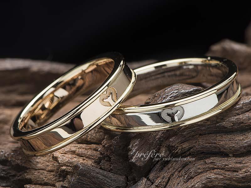 ロゴマークを入れた結婚指輪はコンビ素材でオーダーメイド