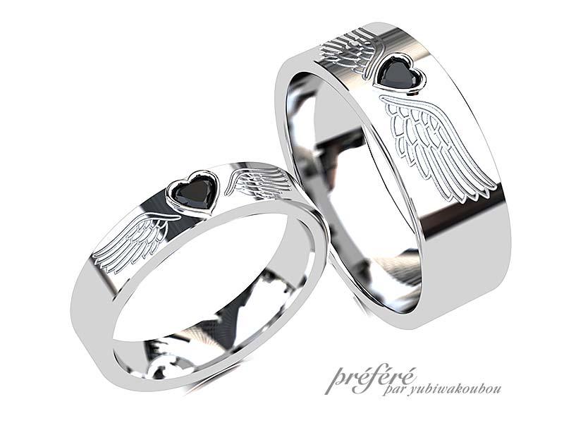 ハートのブラックダイヤと鷲の羽根の結婚指輪のオーダーメイド
