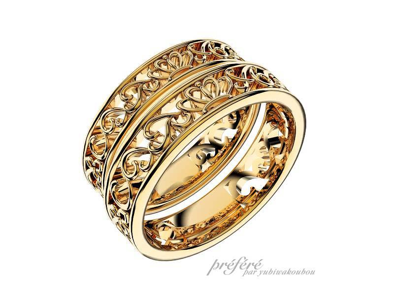 クラウン&アイビーモチーフの結婚指輪オーダー