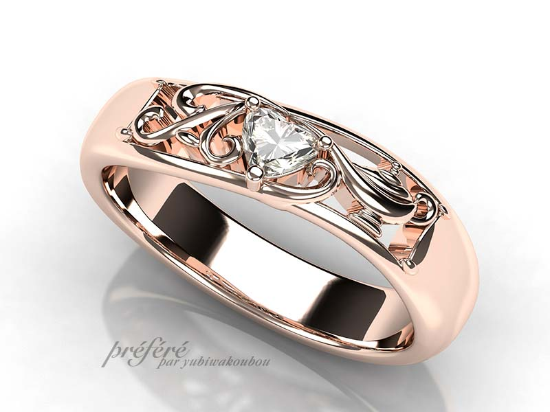 イニシャルモチーフ、アラジンのランプ婚約指輪オーダー