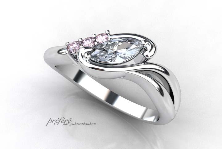 フアンシーピンクダイヤとマーキスカットの婚約指輪オーダー