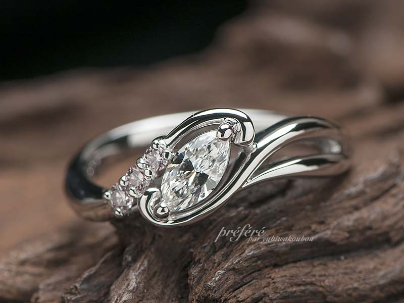 マーキスカットの婚約指輪オーダー