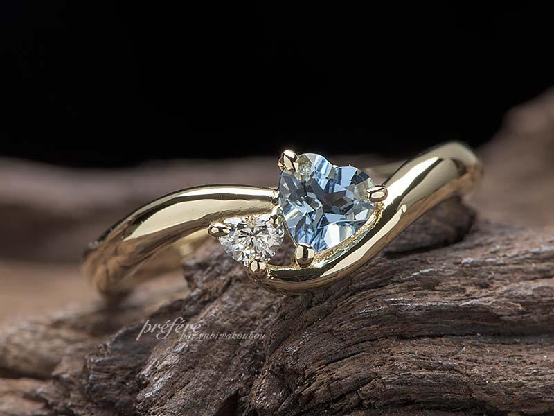 ハート形アクアマリンとハートダイヤの婚約指輪オーダーメイド