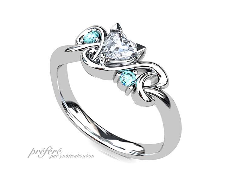 ネコとイニシャルモチーフの婚約指輪