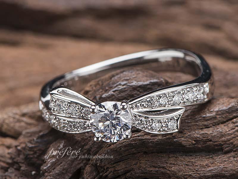 リボンモチーフの婚約指輪オーダーメイド