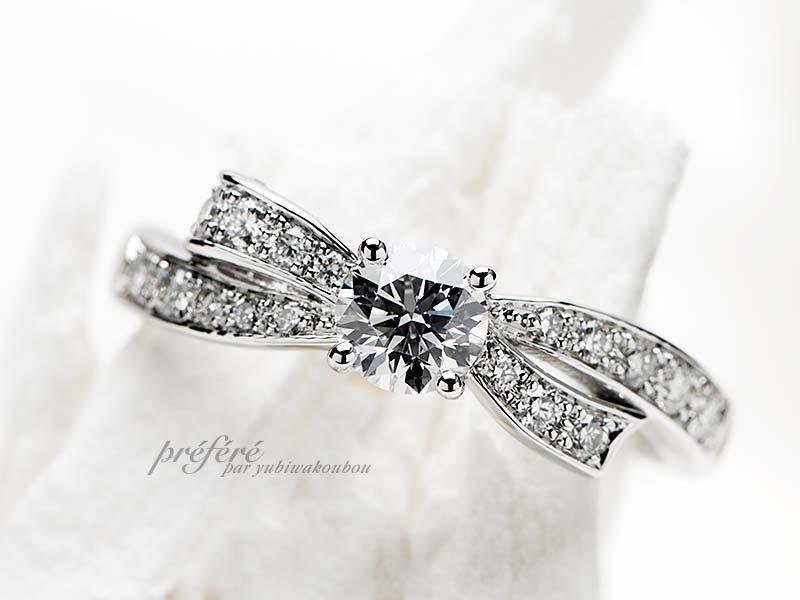 リボンモチーフの婚約指輪オーダー