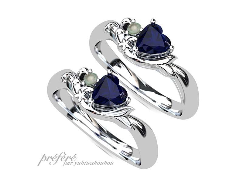ハートのサファイアの婚約指輪オーダー