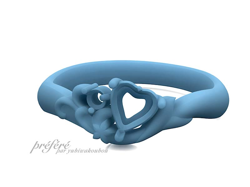 ハートのサファイアの婚約指輪オーダーのモデル