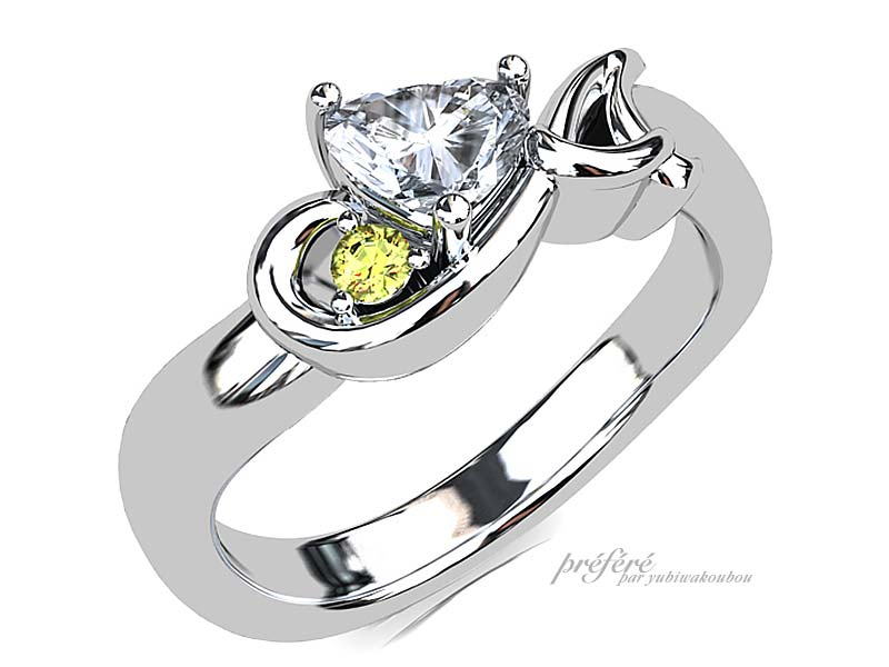 婚約指輪はハートダイヤ&音符&イニシャルのイメージCG