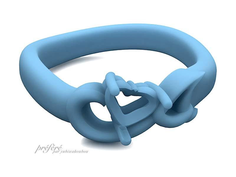 ハートダイヤ&音符&イニシャルの婚約指輪のモデル