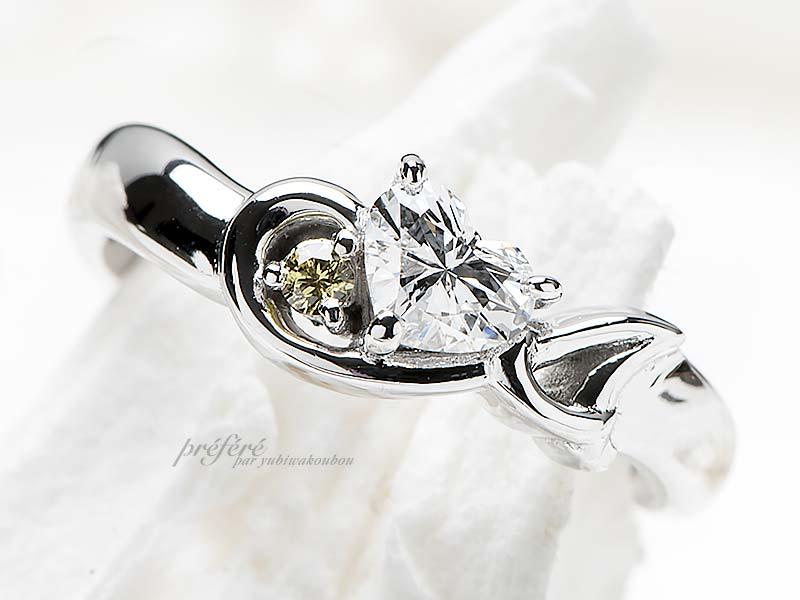 婚約指輪はハートダイヤ&音符&イニシャルでオーダーメイド