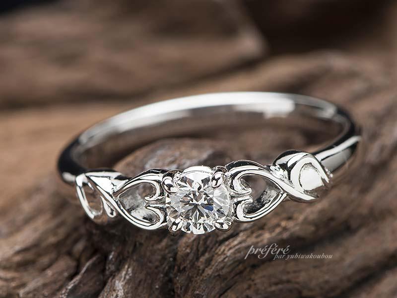 イニシャル婚約指輪オーダー ,ハート婚約指輪