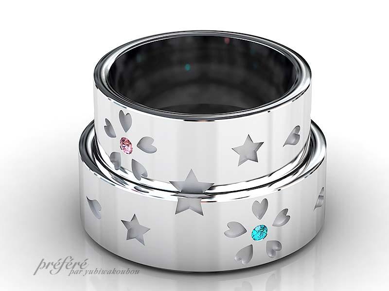 結婚指輪は桜の花と星モチーフのオーダーメイド