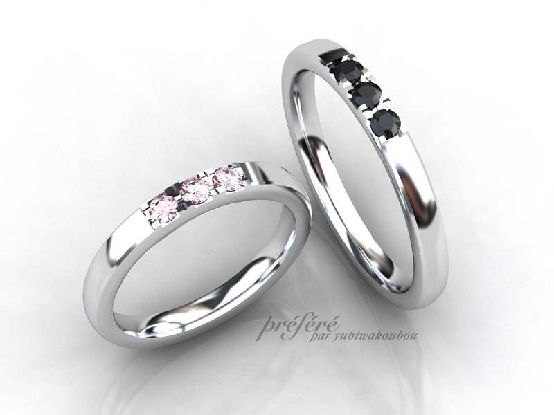 結婚指輪オーダーはブラックダイヤとピンクダイヤを3個づつ配置
