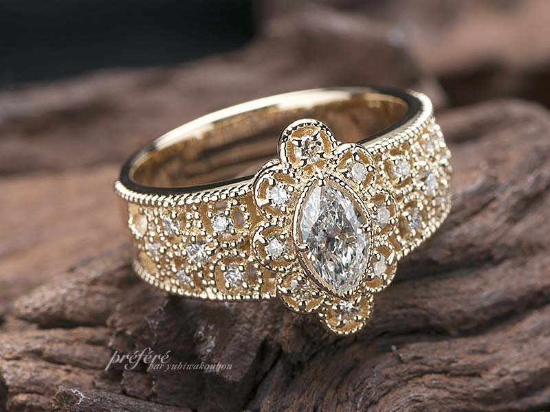マーキスダイヤの結婚15年オーダー指輪