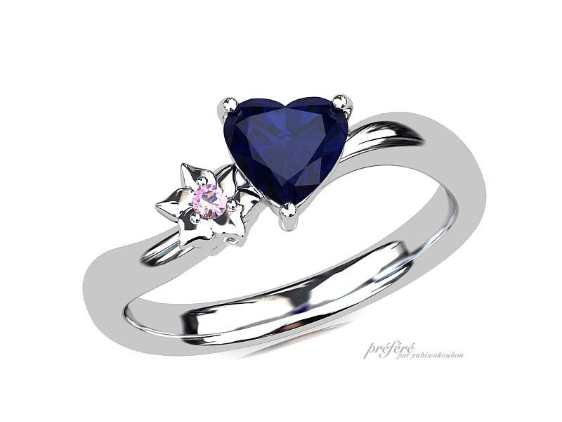 ハート形サファイアの婚約指輪