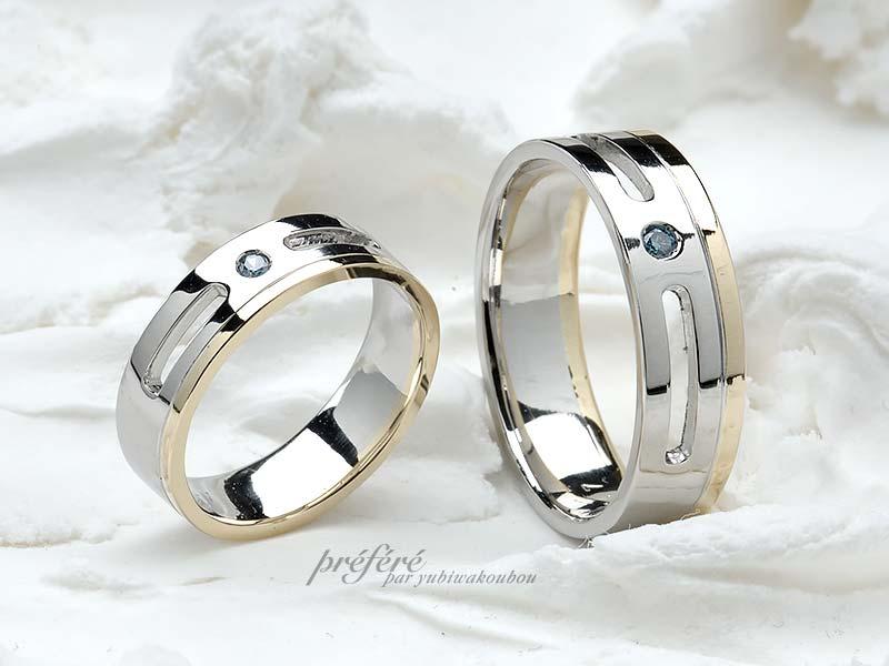 結婚指輪オーダーは18金とプラチナのコンビで空間のあるデザイン