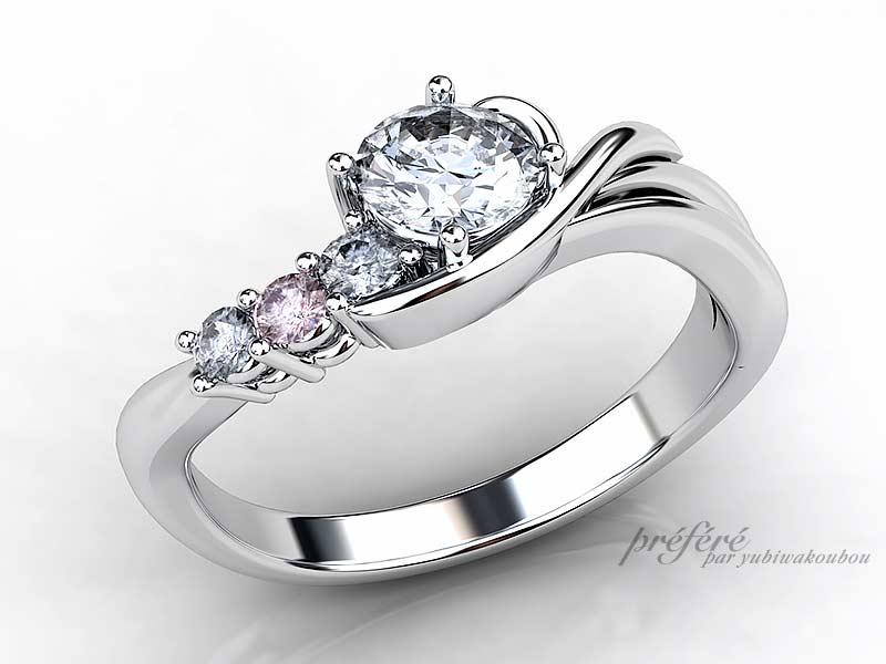 イニシャルを添えたオーダーメイドの婚約指輪をプロポーズと共にプレゼント CG