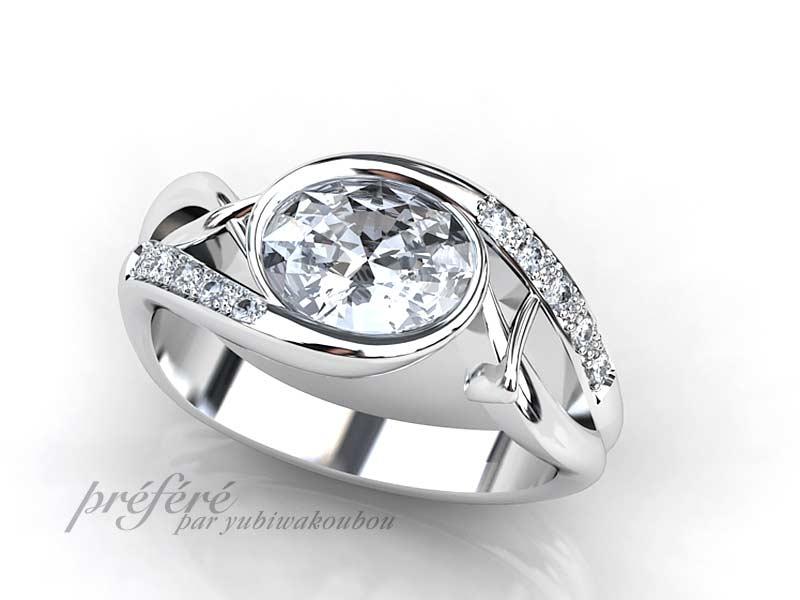 受け継がれるオーバルカットのダイヤを婚約指輪にリメイク
