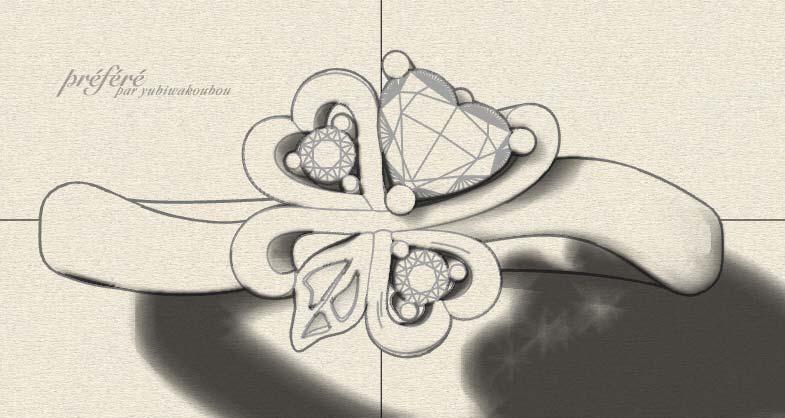 四つ葉モチーフ婚約指輪のデザインラフ画