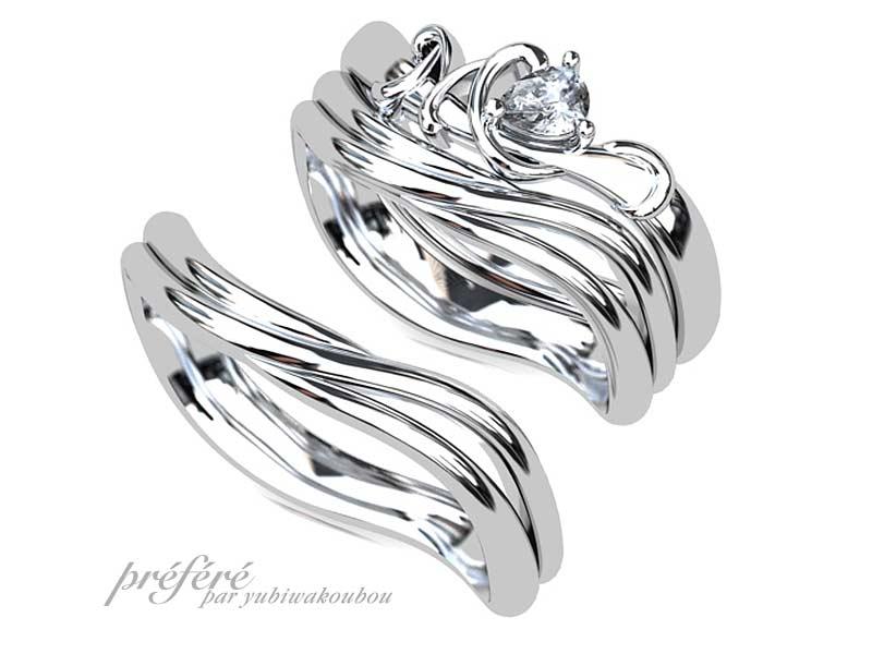 イニシャルモチーフの婚約指輪と結婚指輪のセットリングをオーダーメイド