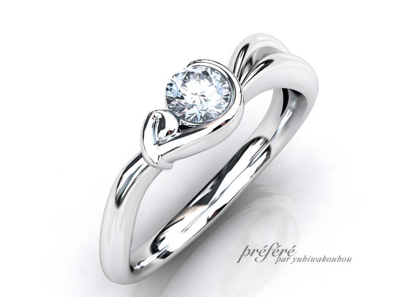 うさぎモチーフの婚約指輪