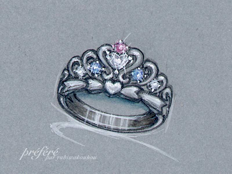 ハートダイヤとピンクダイヤを組合せたティアラ型のオーダーエンゲージリング デザイン画